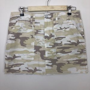 Sanctuary army cameo cargo fray hem mini skirt